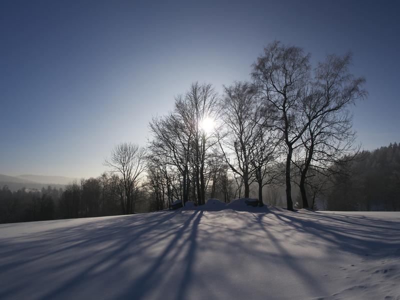 Winterlandschaft nahe Jablonec nad Nisou, Tschechische Republik lizenzfreies stockfoto