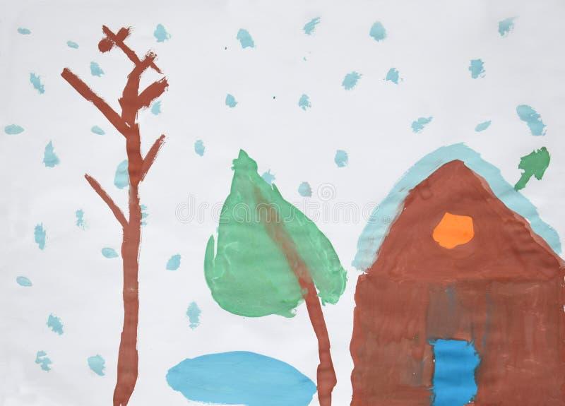 Winterlandschaft - Schnee bedeckte Haus, Bäume, Schneeflocken Kind-` s Aquarellzeichnung vektor abbildung