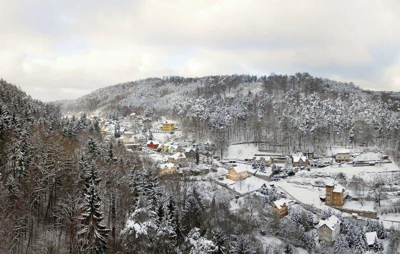 Winterlandschaft in Tscheche-Stadt von Decin am 29. Dezember 2014 stockfotos