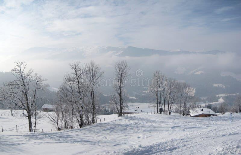 Winterlandschaft in Westendorf Österreich stockfotografie