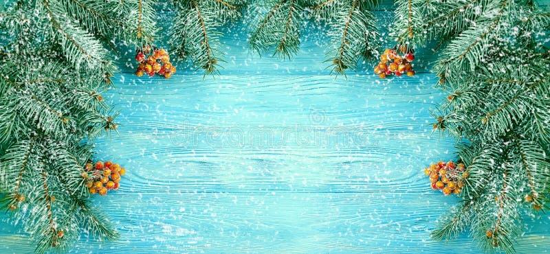 Winterliche grüßende dekorative Jahreszeit der Weihnachtsbaum-Winterniederlassung auf blauem hölzernem Hintergrund, Schnee stockfoto