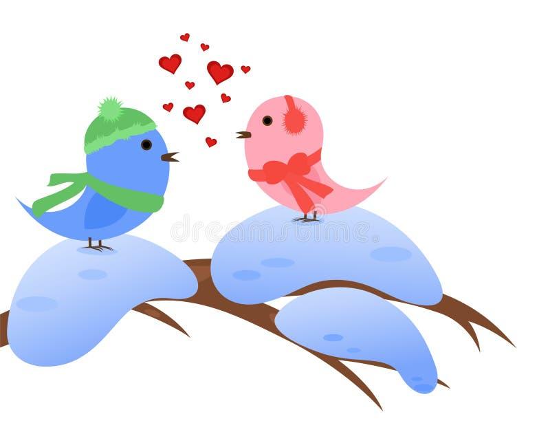 Winterliche Vögel in der Liebe vektor abbildung