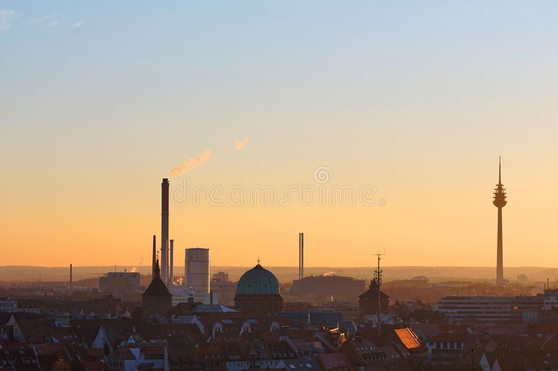 Winter panorama of Nuremberg at sunset royalty free stock images