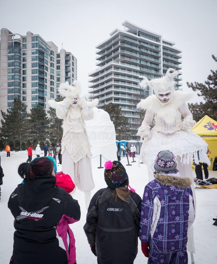 Winterlude dans Gatineau, Québec, Canada 2014 - hiver Merlins dessus photographie stock libre de droits