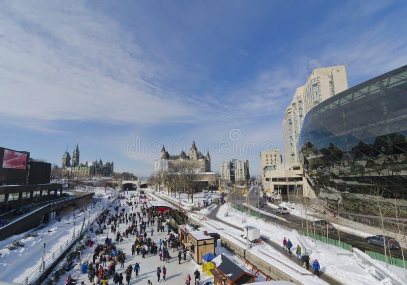 Winterlude Rideau运河在渥太华 免版税库存图片