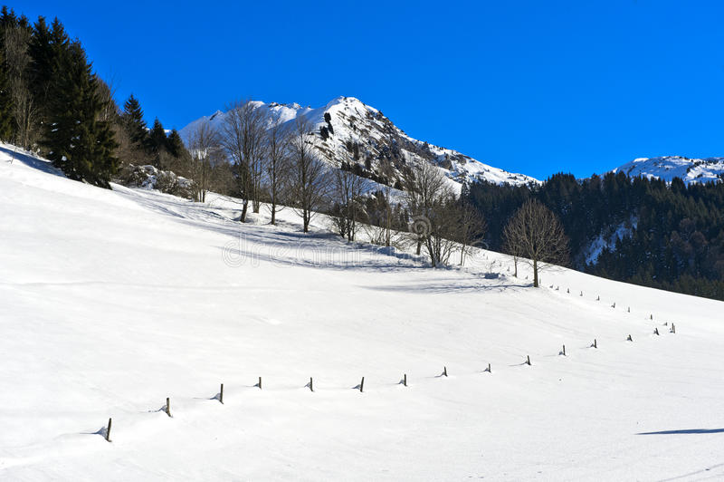 Winterly Vallée de la Manche, Morzine, France. In the winterly Vallée de la Manche, Morzine, Haute-Savoie, Rhône-Alpes region, France royalty free stock image