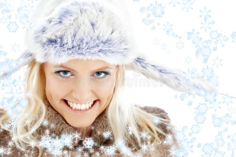 Wintermädchen mit Schneeflocken #2 stockbild