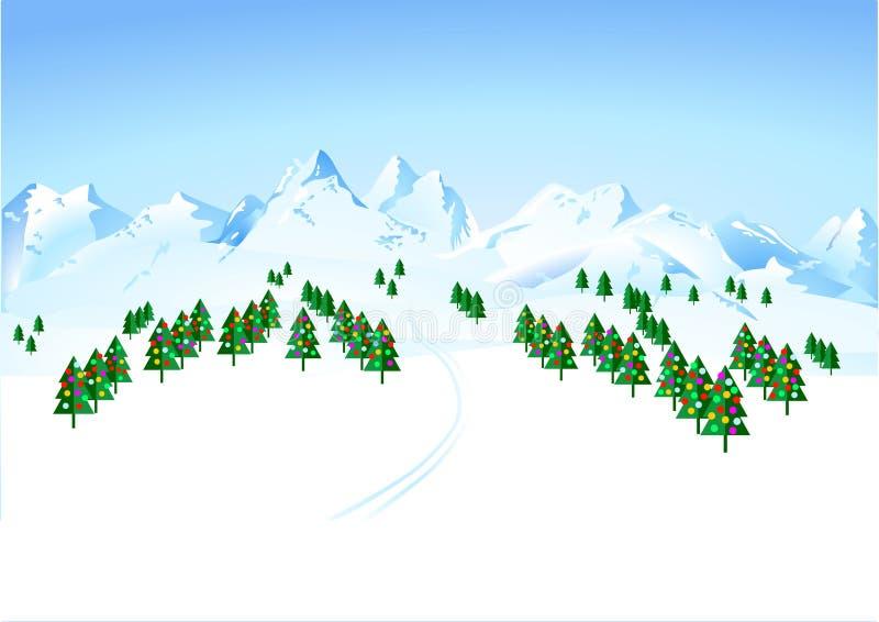 Wintermärchenland lizenzfreie abbildung