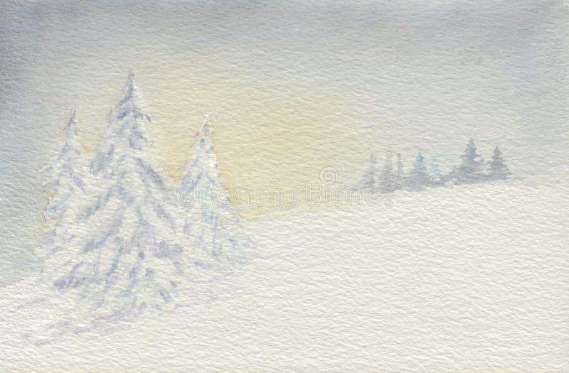 Wintermärchenland an der Dämmerung lizenzfreie abbildung