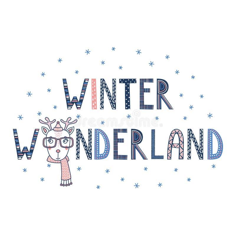 Wintermärchenland-Rotwildplakat vektor abbildung