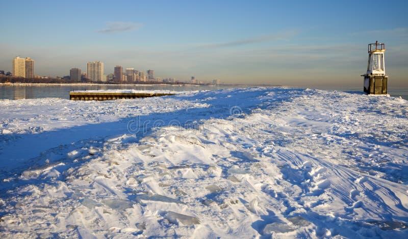 Wintermorgen in Chicago stockbild