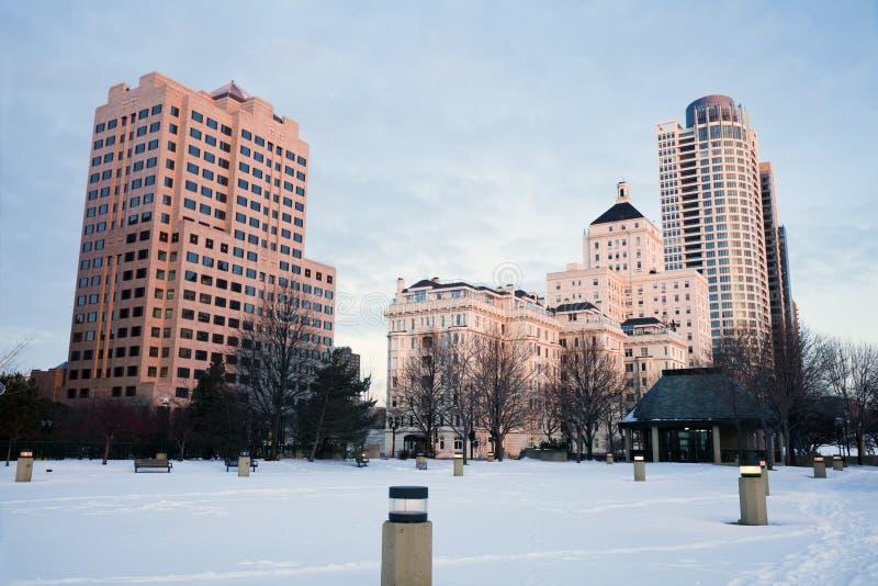 Wintermorgen in Milwaukee stockfotografie
