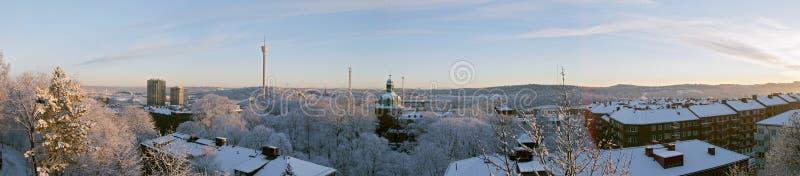 Wintermorgenpanorama stockbild