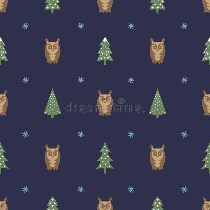 Wintermuster - mannigfaltige Weihnachtsbäume, -eulen und -schneeflocken Einfacher nahtloser guten Rutsch ins Neue Jahr-Hintergrun lizenzfreie abbildung