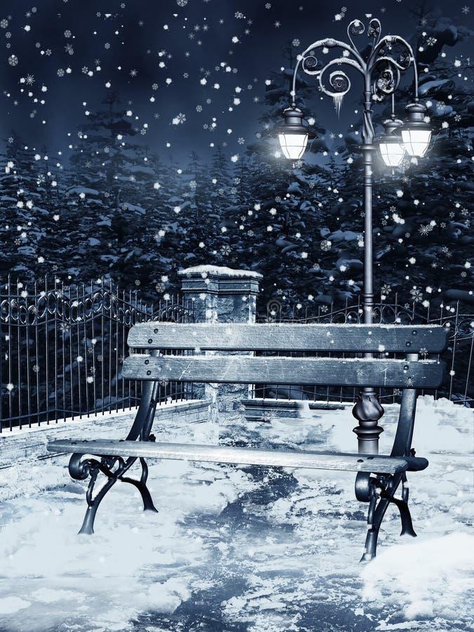 Winternacht in einem Park lizenzfreie abbildung