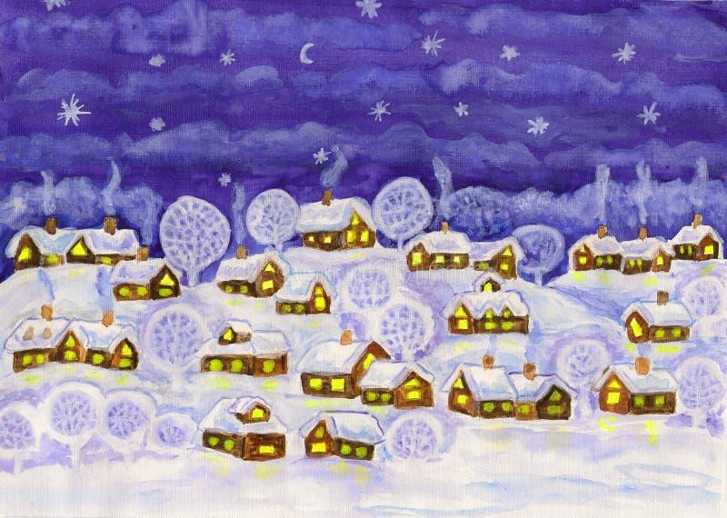 Download Winternacht, malend stock abbildung. Illustration von blau - 27735639