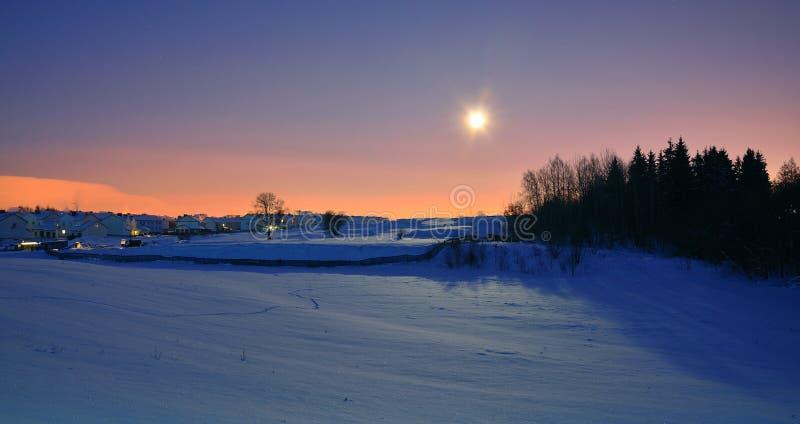 Winternacht mit Mond lizenzfreie stockfotos