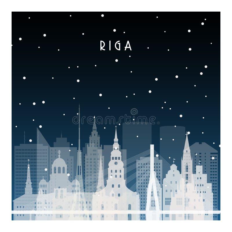 Winternacht in Riga stock abbildung