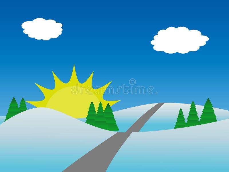 Winternaturlandschaft mit Bäumen und Sonne lizenzfreie abbildung