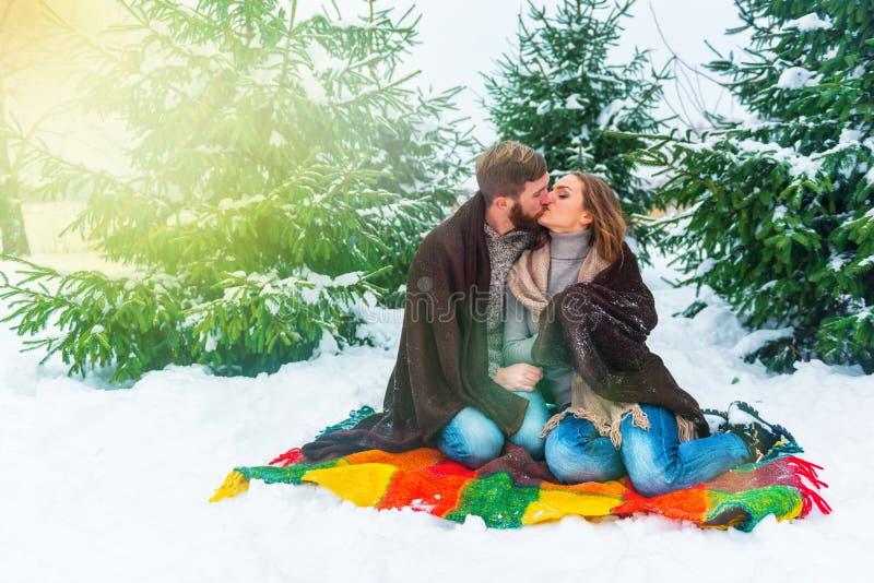 Winterpaare, die Becher gegen Weihnachtsbaum halten stockfotografie