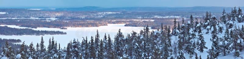 Winterpanorama in Nord-Finnland stockfotos