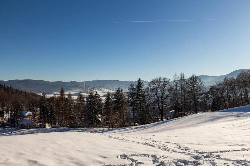 Winterpanoramalandschaft mit Wald, B?ume umfasste Schnee und Sonnenaufgang winterly Morgen eines neuen Tages Winterlandschaft mit stockfotografie