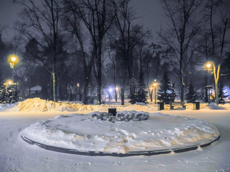 Winterpark nachts Schneefälle und orange helle Laternen lizenzfreie stockbilder