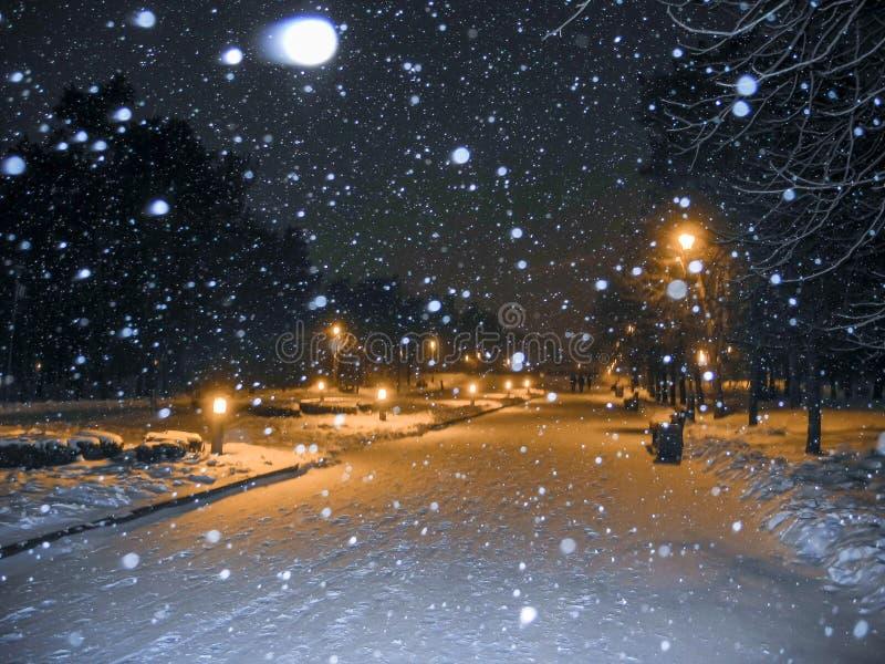 Winterpark nachts Schneefälle und orange helle Laternen stockfotos