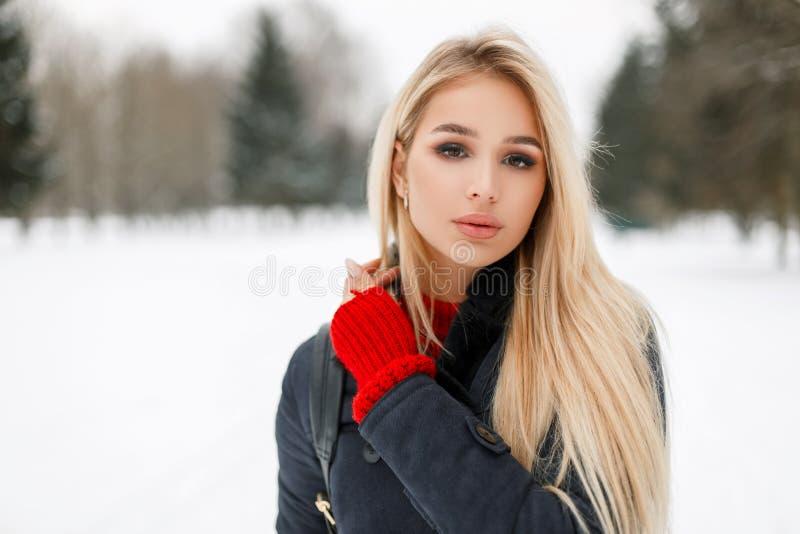 Winterporträt einer schönen Zaubermodellfrau auf eine Mode lizenzfreie stockfotografie