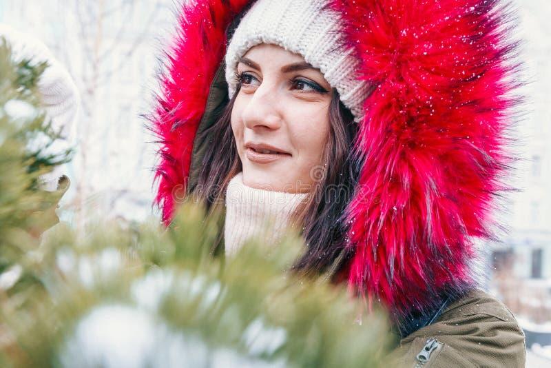 Winterporträt eines Mädchens vor einem grünen Weihnachtsbaum lizenzfreies stockbild