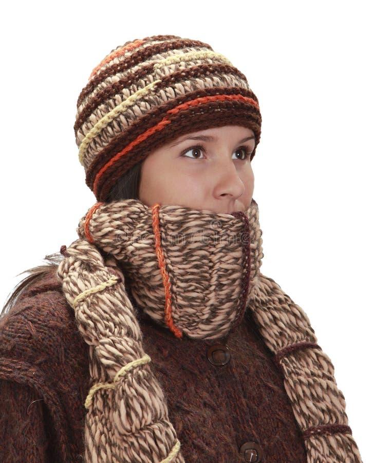 Winterportrait einer Frau stockfotos
