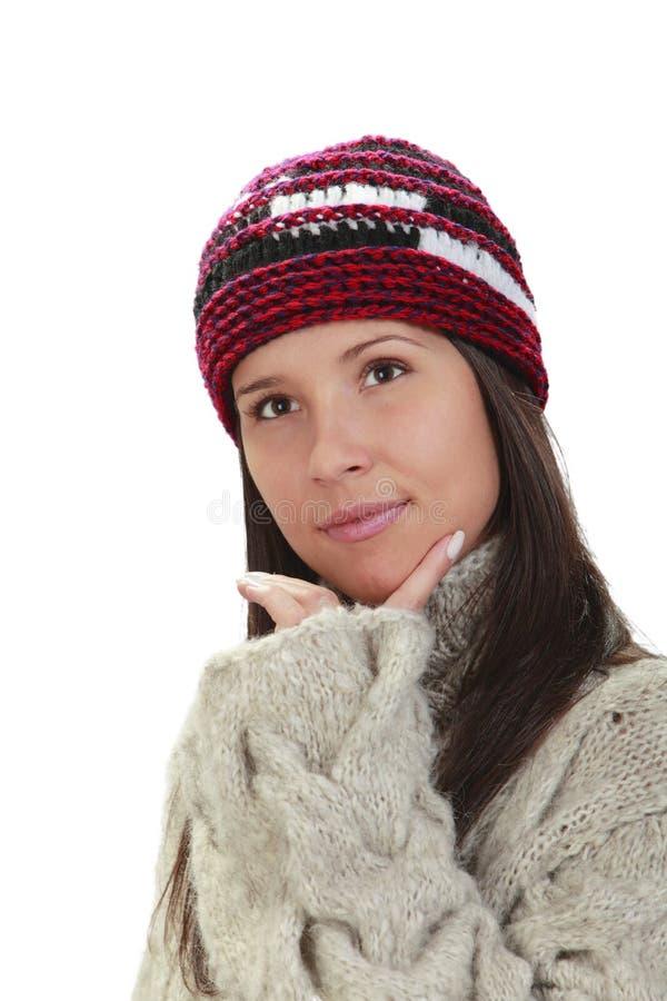 Winterportrait einer Frau stockfoto