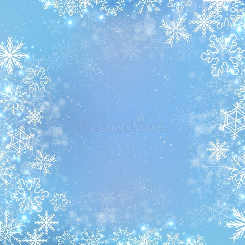 Winterquadrat-Fahnenhintergrund der Steigung blauer mit Schneeflocke lizenzfreie abbildung