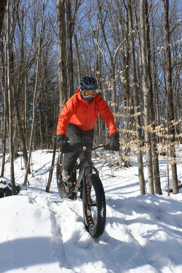 Winterradfahren stockfoto