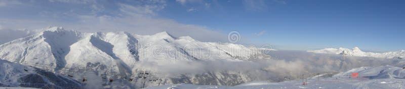 Winters Alpien landschap stock afbeeldingen