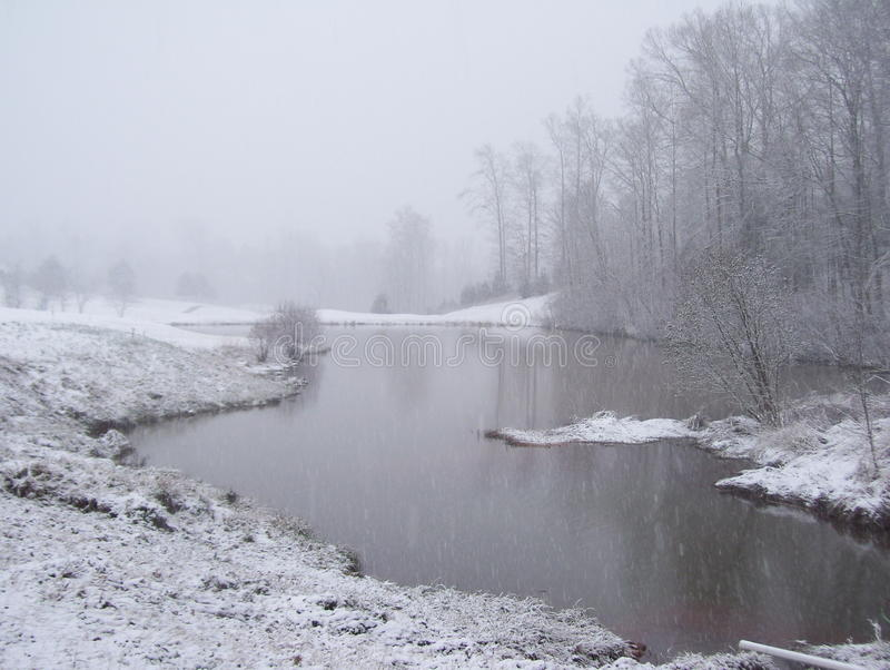Winters Quiet Beauty. Beautiful Snow fall on our quiet pond stock images