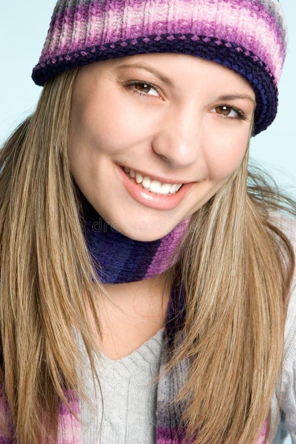 winters uśmiechnięta kobieta fotografia stock