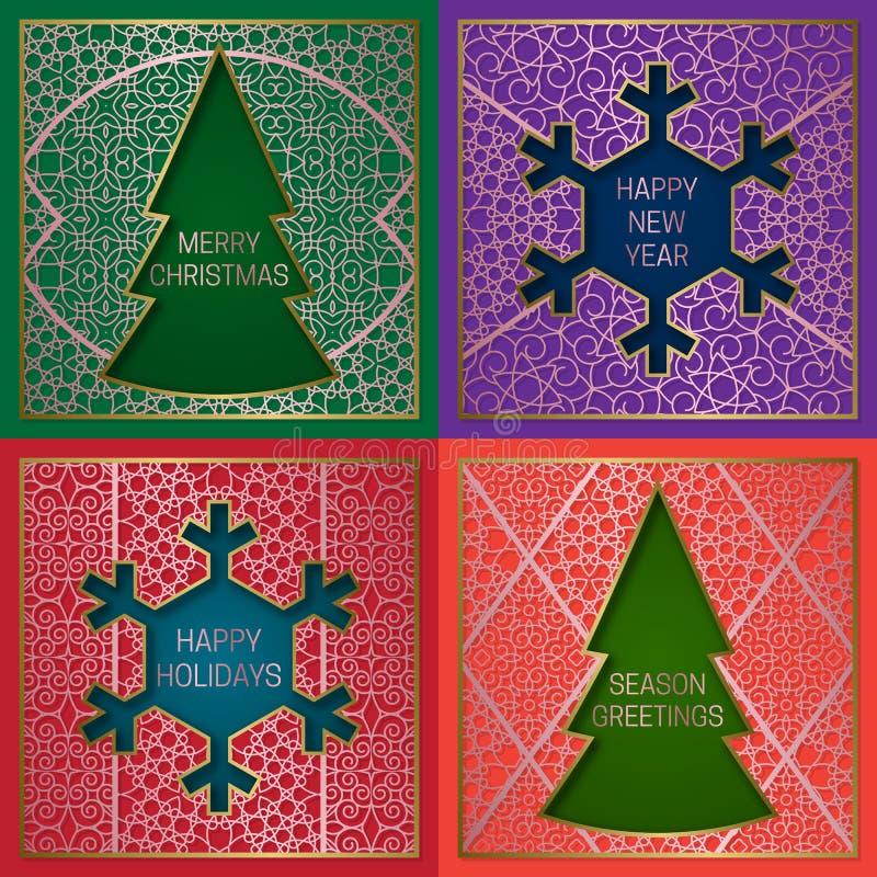 Wintersaisongrußkartenabdeckungen eingestellt Goldene rosa Hintergründe mit Rahmen in den Formen des Weihnachtsbaums und der Schn vektor abbildung