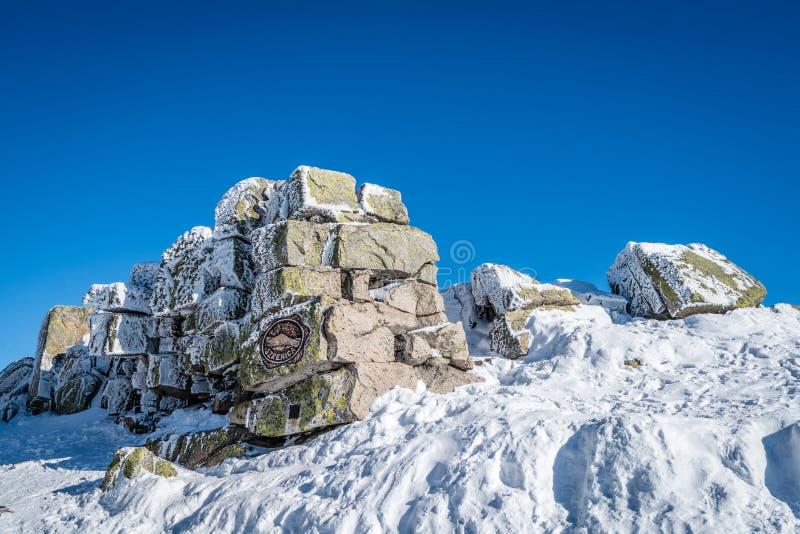 Winterscape гор Karkonosze стоковая фотография