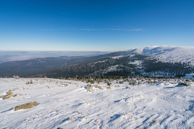 Winterscape гор Karkonosze стоковые фото