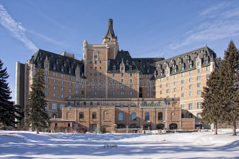 Winterscape of the Hotel Bessborough royalty free stock photography
