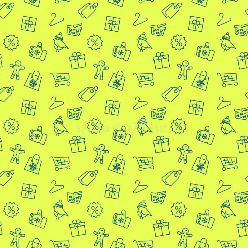Winterschlussverkauf und kaufendes nahtloses Muster vektor abbildung