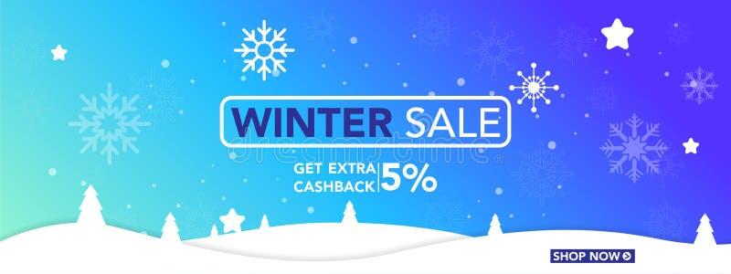 Winterschlussverkauffahnenschablone mit Schneeflocken, Eisschnee-Einkaufsverkauf Ende der Winter Vektorillustration stockfotografie