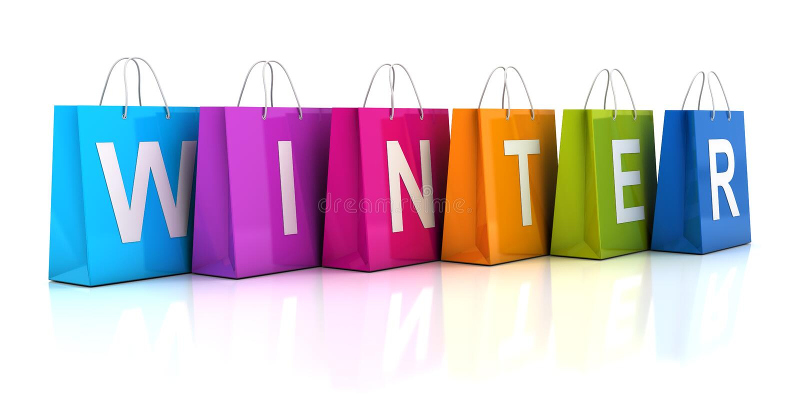 Winterschlussverkaufkonzept mit Einkaufstasche, 3d übertragen lizenzfreie abbildung