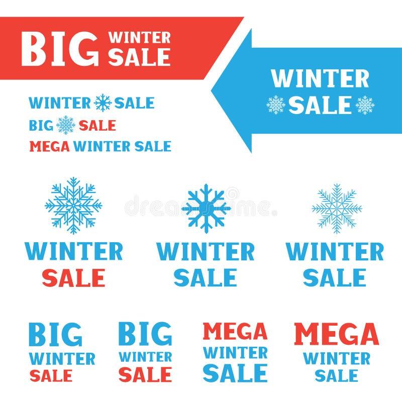 Winterschlussverkauflogosatz stock abbildung