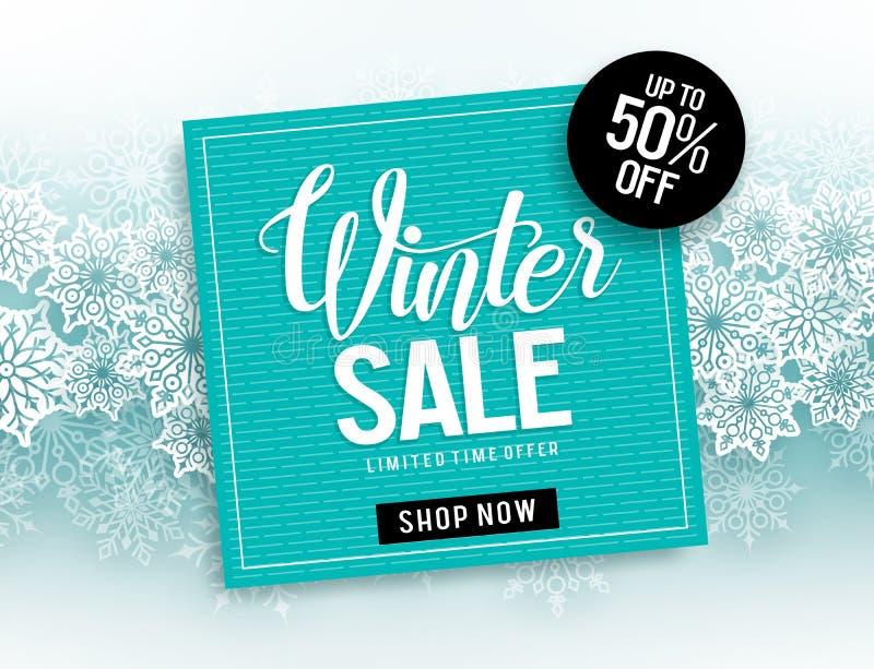 Winterschlussverkaufvektor-Fahnenschablone mit blauem Rahmen für Verkaufstext u. Schneeflockenelemente lizenzfreie abbildung