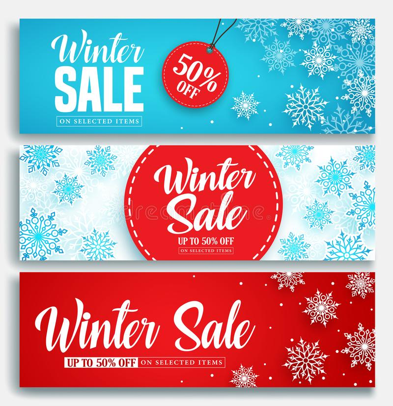 Winterschlussverkaufvektorfahne stellte mit Rabatttext- und -schneeelementen in den blauen und roten Schneeflocken ein lizenzfreie abbildung