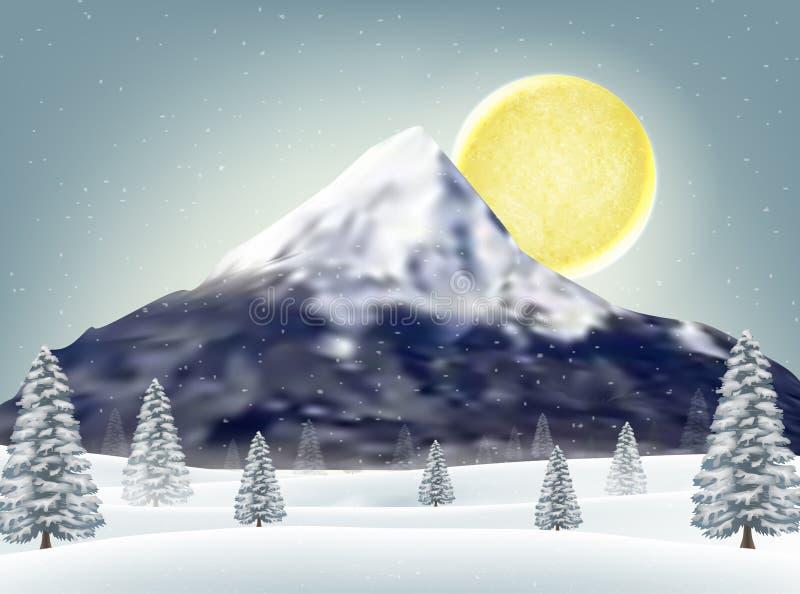 Winterschneehügel mit großem Gebirgshintergrund lizenzfreie abbildung