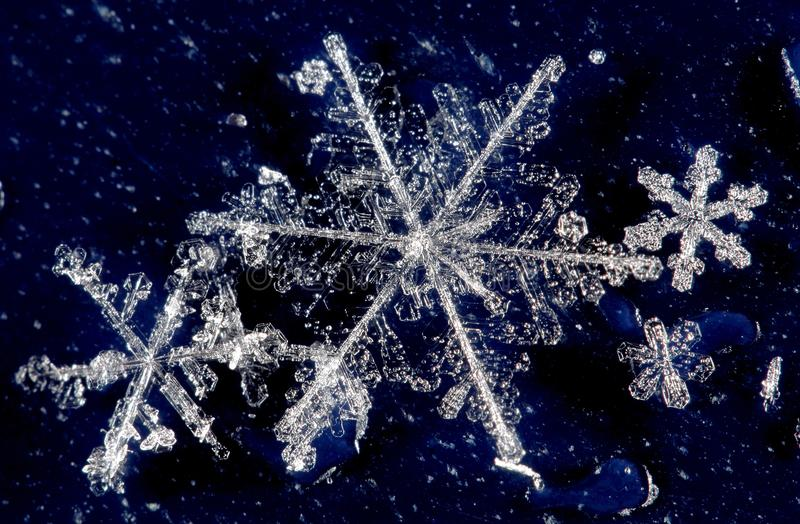 Winterschneekristalle stockfoto