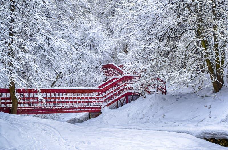 Winterschneelandschaftswaldschnee der einsamen roten Brücke drastischer auf Niederlassungsvignettierung hdr Foto lizenzfreie stockfotografie